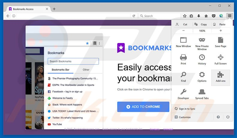 Removing Bookmarks Access ads from Mozilla Firefox step 1
