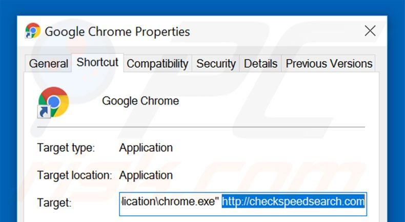 Removing checkspeedsearch.com from Google Chrome shortcut target step 2
