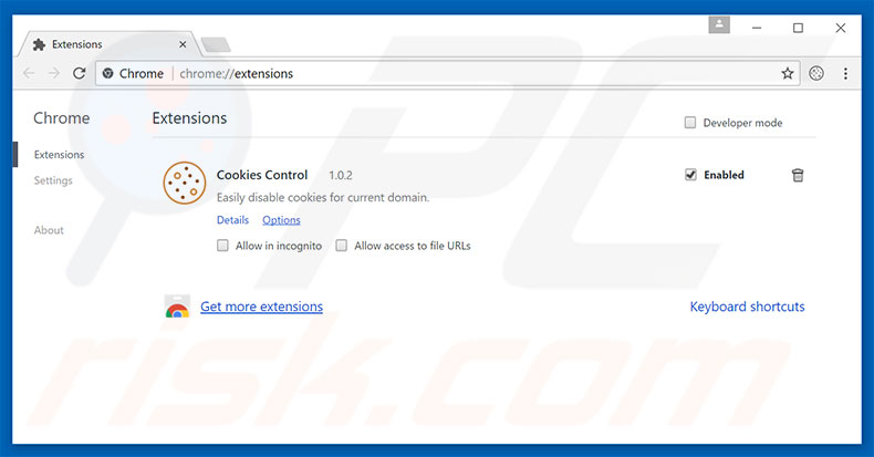 Removing codeonclick.com ads from Google Chrome step 2