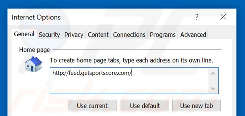 Removing feed.getsportscore.com from Internet Explorer homepage