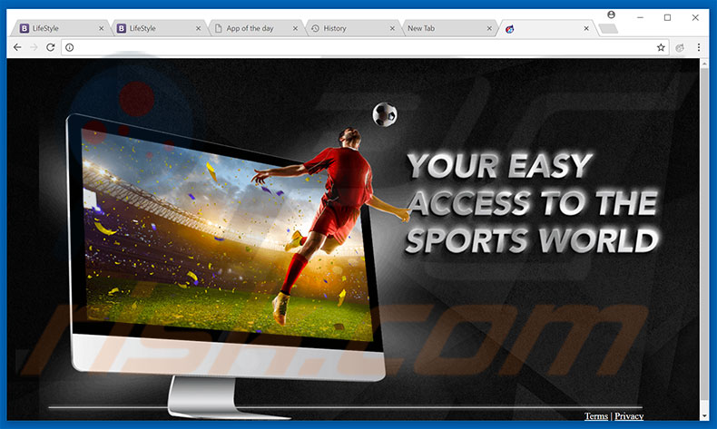 Website used to promote Sports Score browser hijacker