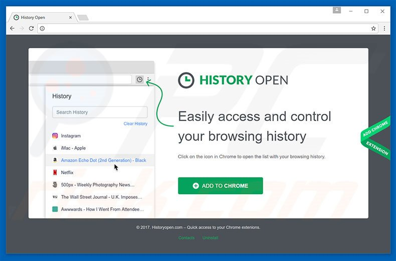 How to uninstall History Open Adware - virus removal