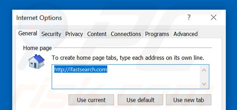 Removing ifastsearch.com from Internet Explorer homepage