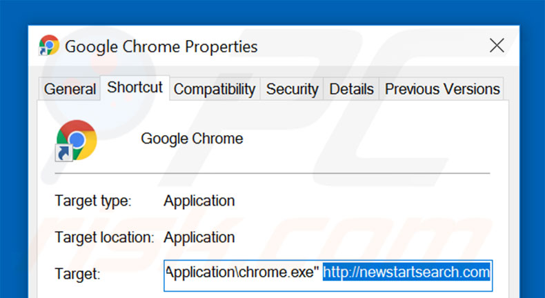Removing newstartsearch.com from Google Chrome shortcut target step 2