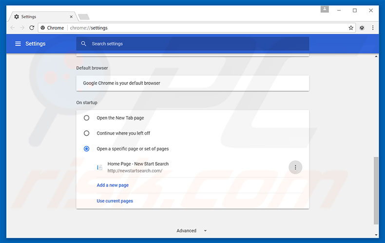 Removing newstartsearch.com from Google Chrome homepage