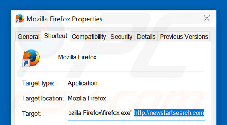 Removing newstartsearch.com from Mozilla Firefox shortcut target step 2