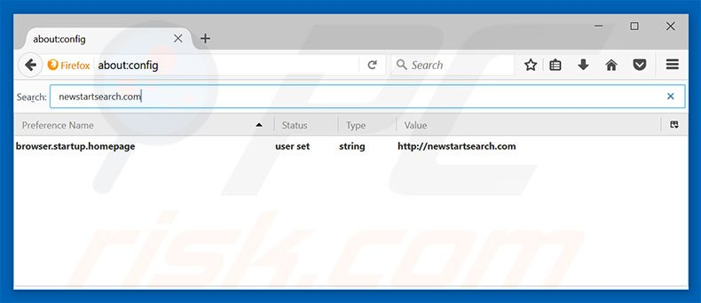 Removing newstartsearch.com from Mozilla Firefox default search engine