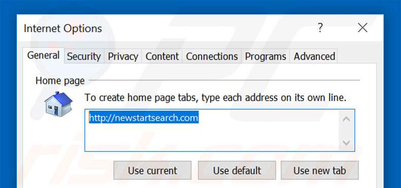 Removing newstartsearch.com from Internet Explorer homepage