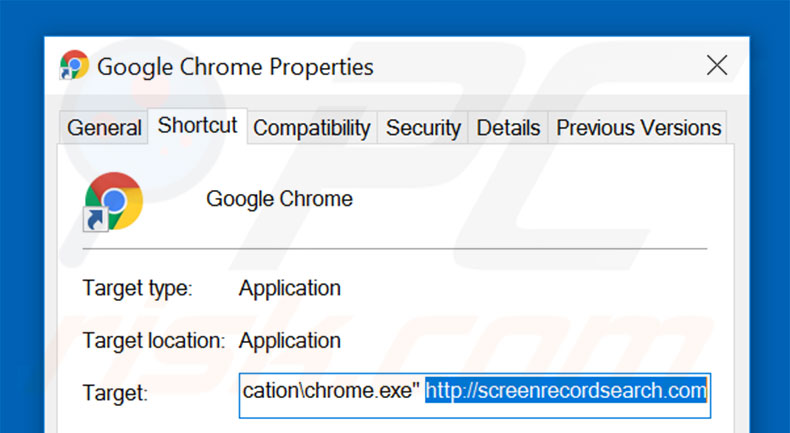Removing screenrecordsearch.com from Google Chrome shortcut target step 2