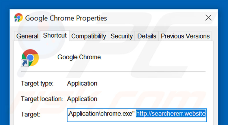 Removing searchererr.website from Google Chrome shortcut target step 2