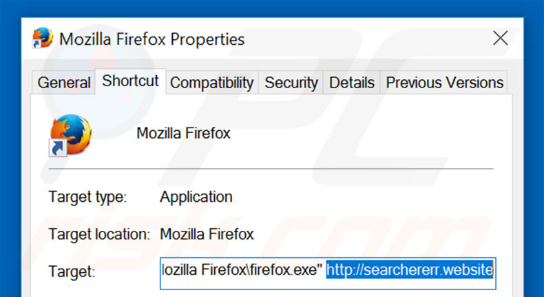 Removing searchererr.website from Mozilla Firefox shortcut target step 2