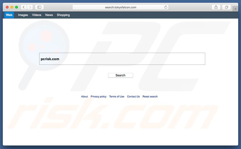 search.tokyofalcon.com browser hijacker on a Mac computer