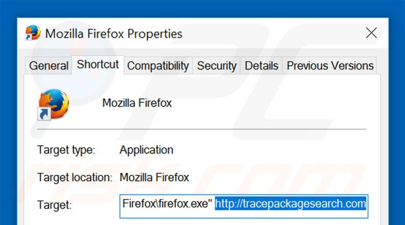 Removing tracepackagesearch.com from Mozilla Firefox shortcut target step 2