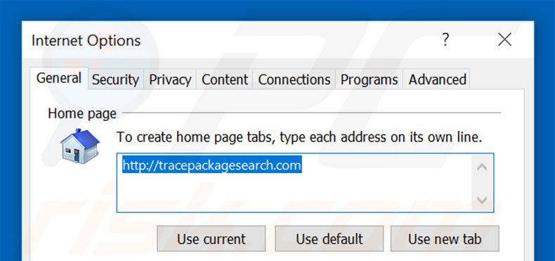 Removing tracepackagesearch.com from Internet Explorer homepage