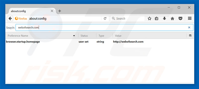 Removing webofsearch.com from Mozilla Firefox default search engine