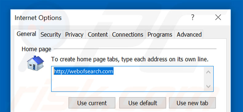 Removing webofsearch.com from Internet Explorer homepage