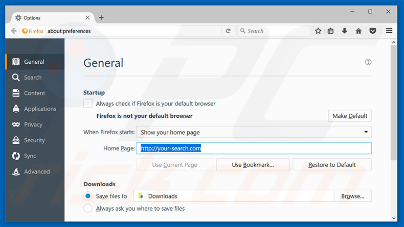 Removing your-search.com from Mozilla Firefox homepage