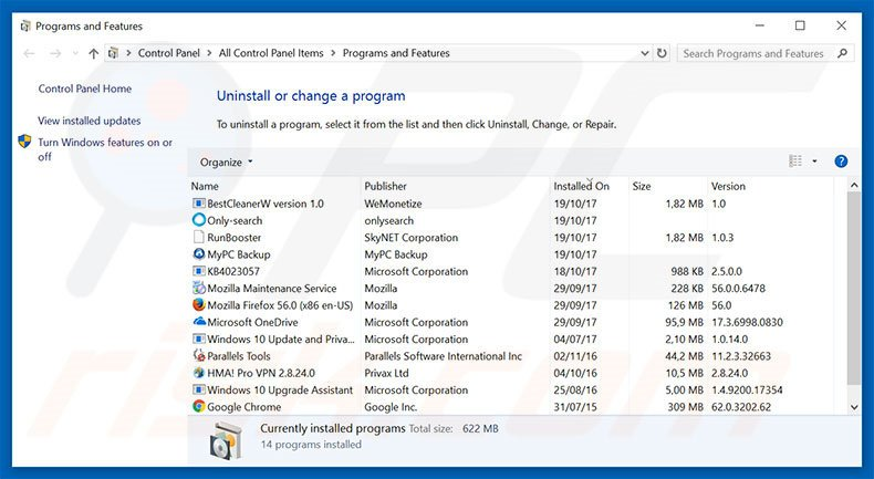chromesearch.today browser hijacker uninstall via Control Panel