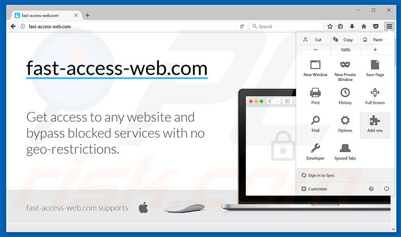 Removing Fast-access-web ads from Mozilla Firefox step 1