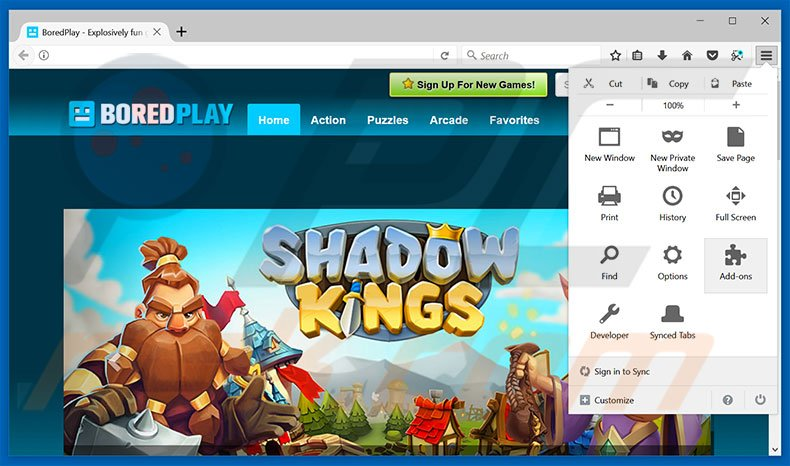 Removing Free Premium Flash Games ads from Mozilla Firefox step 1