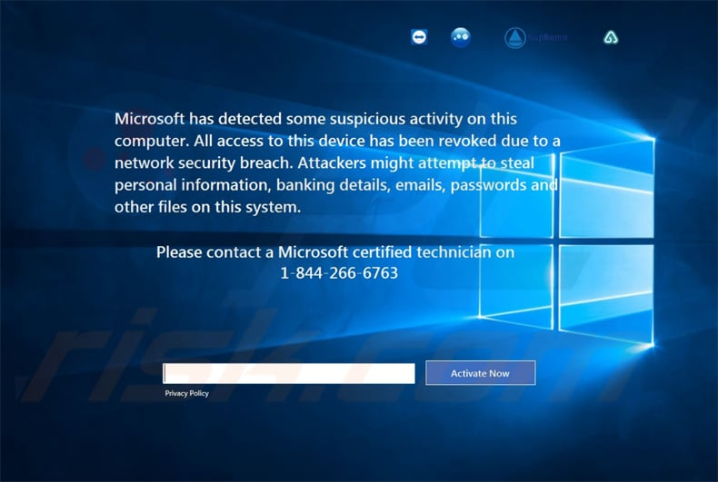 Microsoft Has Detected Some Suspicious Activity variant 2