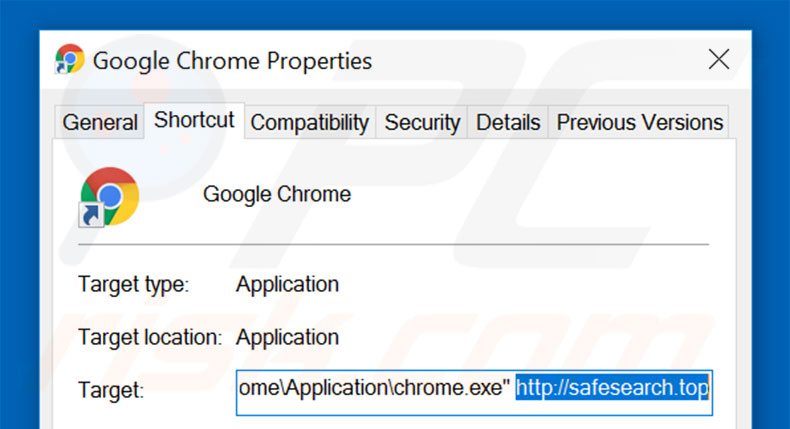 Removing safesearch.top from Google Chrome shortcut target step 2