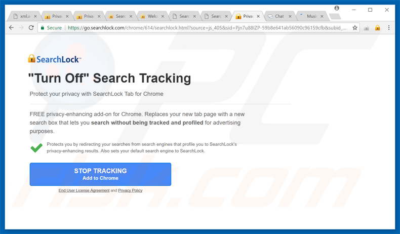 searchlock browser hijacker promoting pop-up