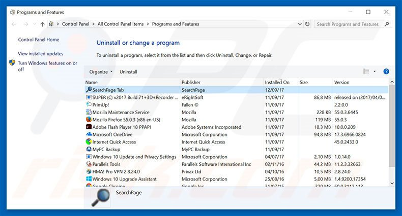 searchpage.com browser hijacker uninstall via Control Panel
