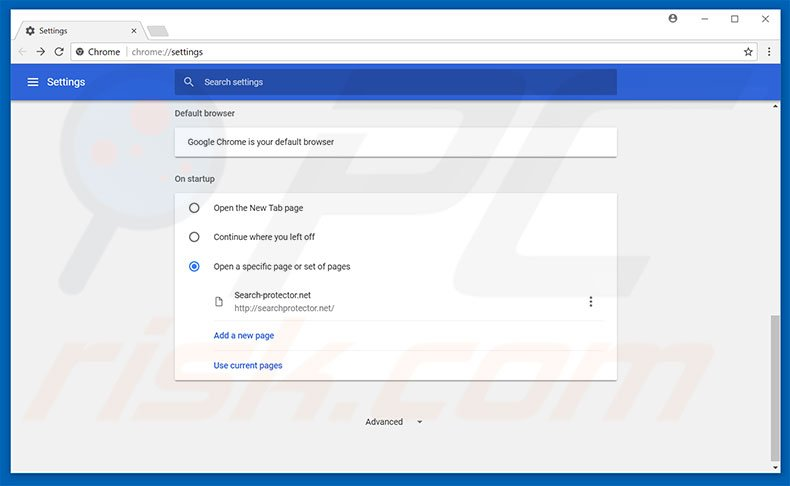 Removing searchprotector.net from Google Chrome homepage
