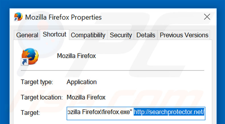 Removing searchprotector.net from Mozilla Firefox shortcut target step 2