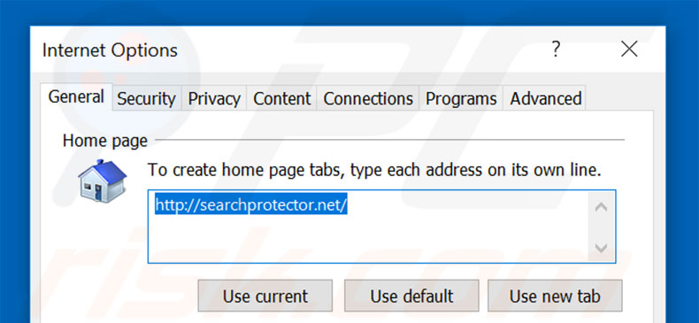 Removing searchprotector.net from Internet Explorer homepage