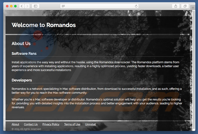 Dubious website used to promote search.romandos.com