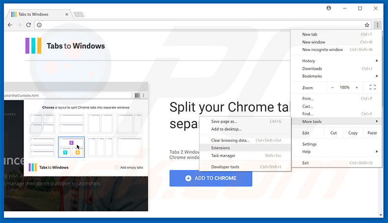 Removing Tabs To Windows  ads from Google Chrome step 1