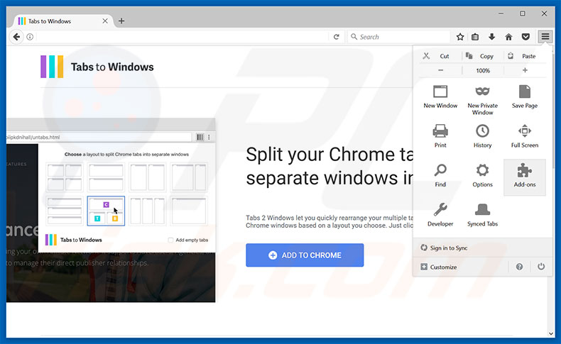 Removing Tabs To Windows ads from Mozilla Firefox step 1