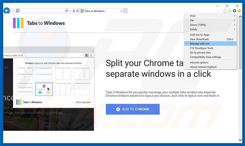 Removing Tabs To Windows ads from Internet Explorer step 1