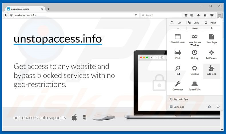 Removing unstopaccess ads from Mozilla Firefox step 1