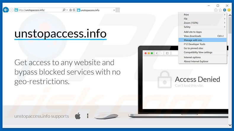 Removing unstopaccess ads from Internet Explorer step 1