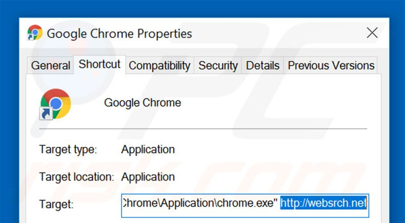 Removing websrch.net from Google Chrome shortcut target step 2