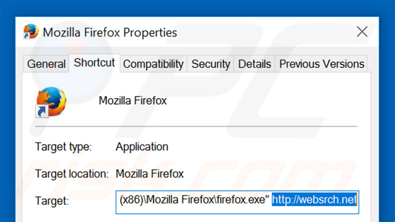 Removing websrch.net from Mozilla Firefox shortcut target step 2