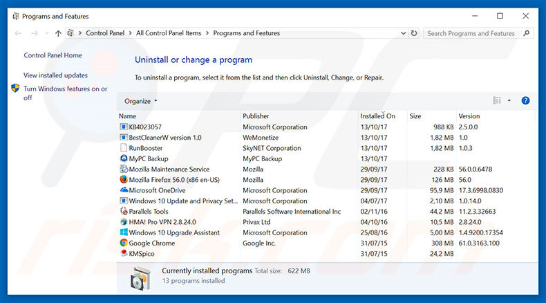 Your Windows Infected With Viruses adware uninstall via Control Panel