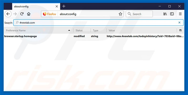 Removing 4newtab.com from Mozilla Firefox default search engine