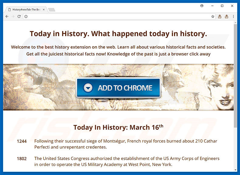Website used to promote Today In History browser hijacker