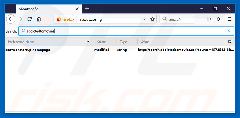 Removing search.addictedtomovies.co from Mozilla Firefox default search engine