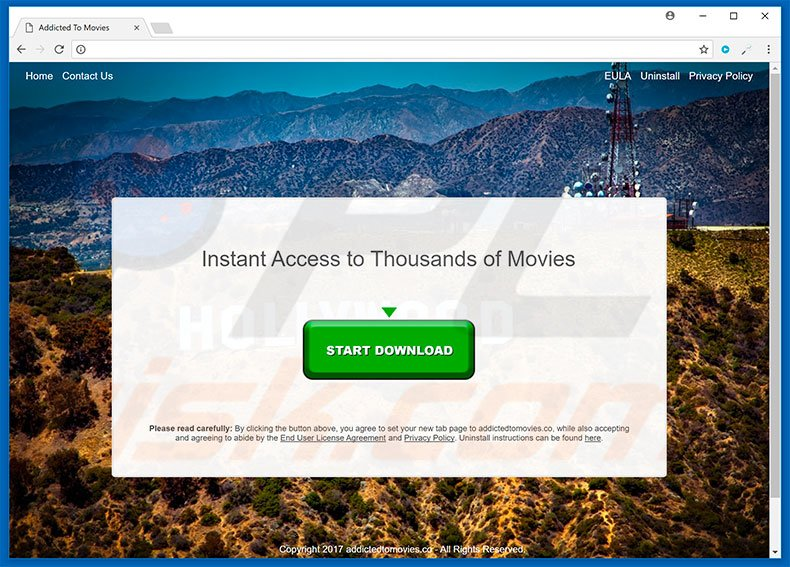 Website used to promote Addicted To Movies browser hijacker