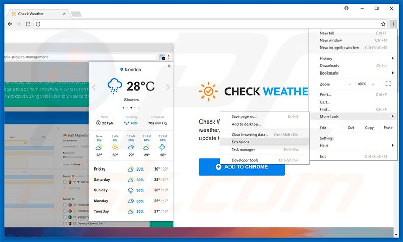 Removing Check Weather  ads from Google Chrome step 1