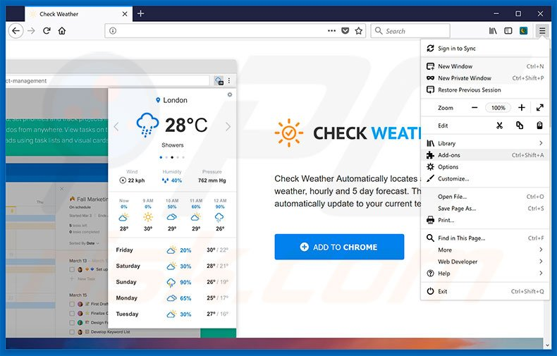Removing Check Weather ads from Mozilla Firefox step 1