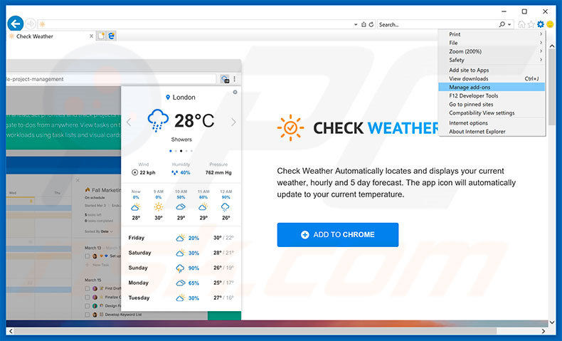 Removing Check Weather ads from Internet Explorer step 1