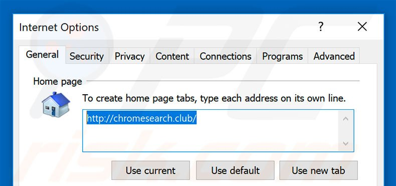 Removing chromesearch.club from Internet Explorer homepage