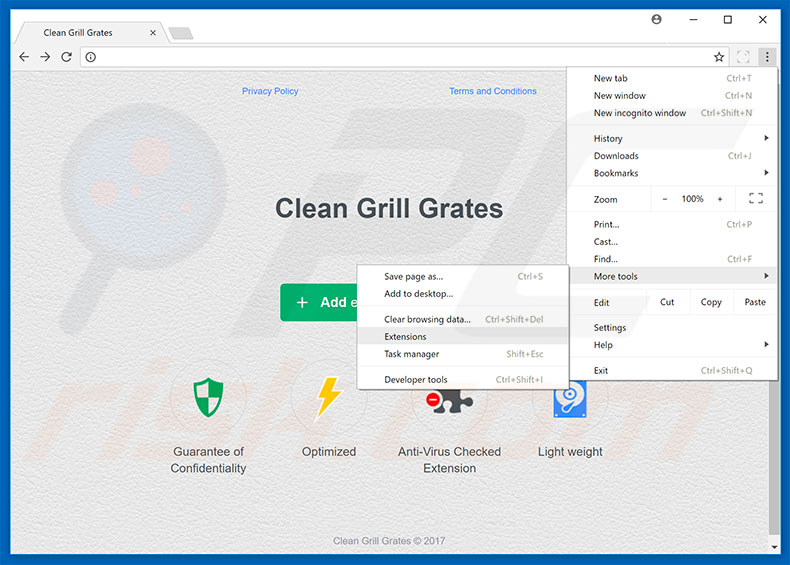 Removing Clean Grill Grates  ads from Google Chrome step 1