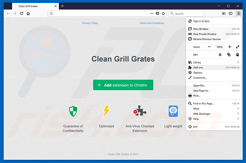 Removing Clean Grill Grates ads from Mozilla Firefox step 1